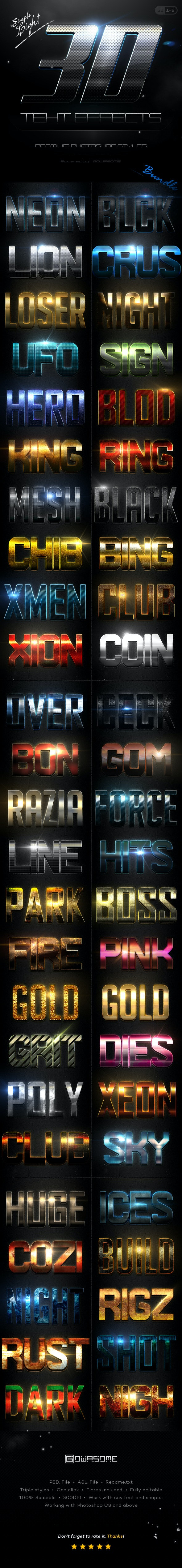 Simple 3D Light Text Effects Bundle - Text Effects Styles