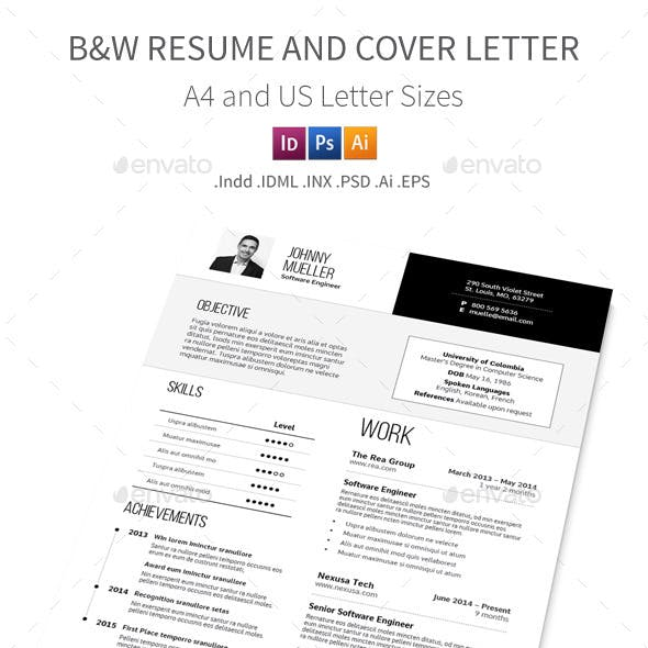 Black and White Resume and Cover Letter