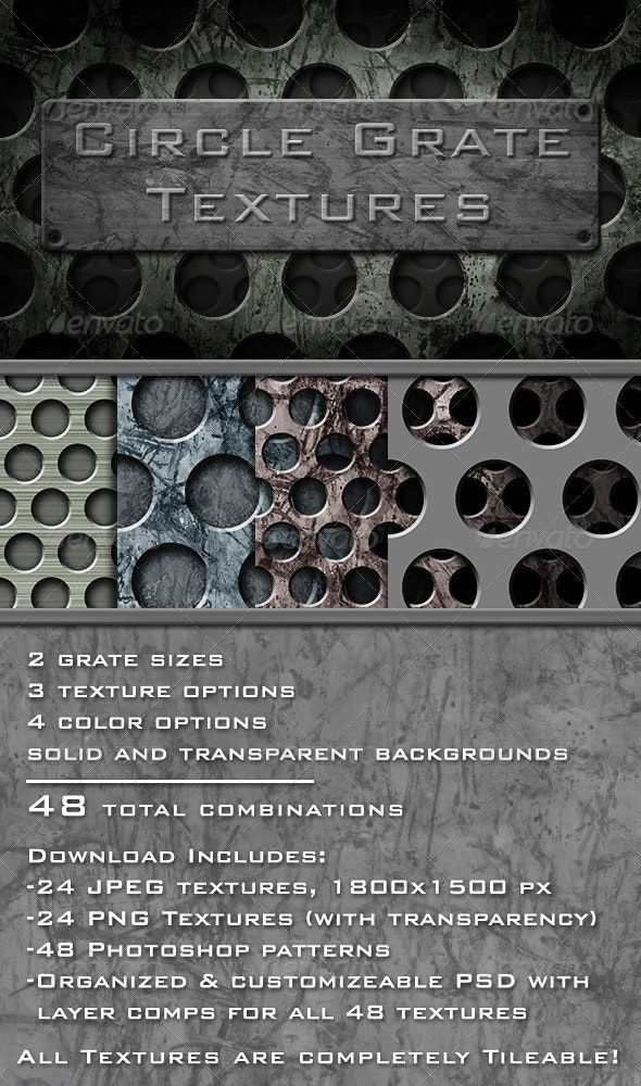 Circle Grate Texture Pack - Industrial / Grunge Textures