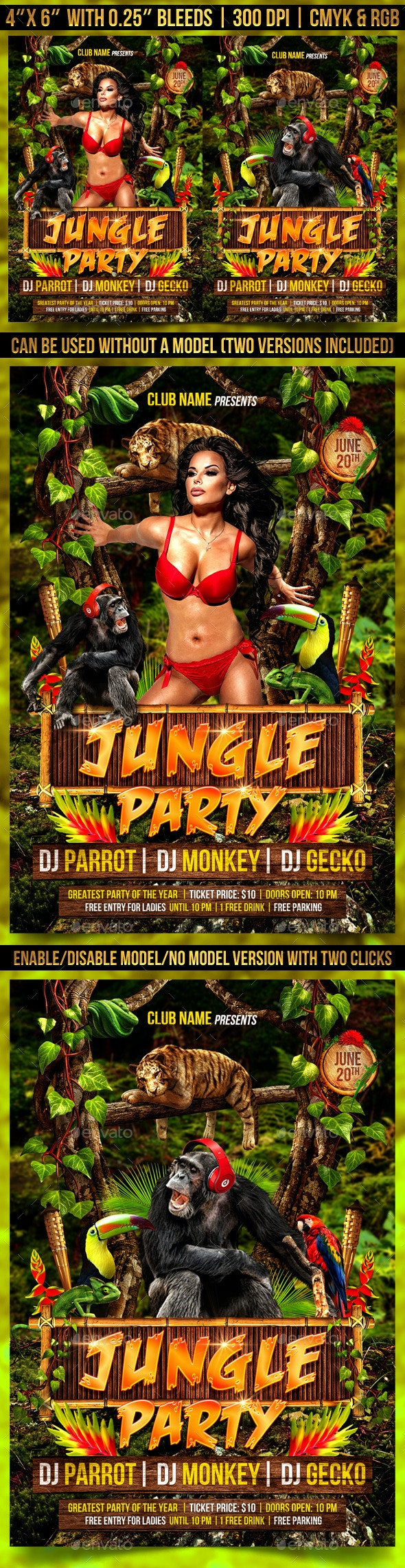 Jungle Party Flyer Template - Clubs & Parties Events