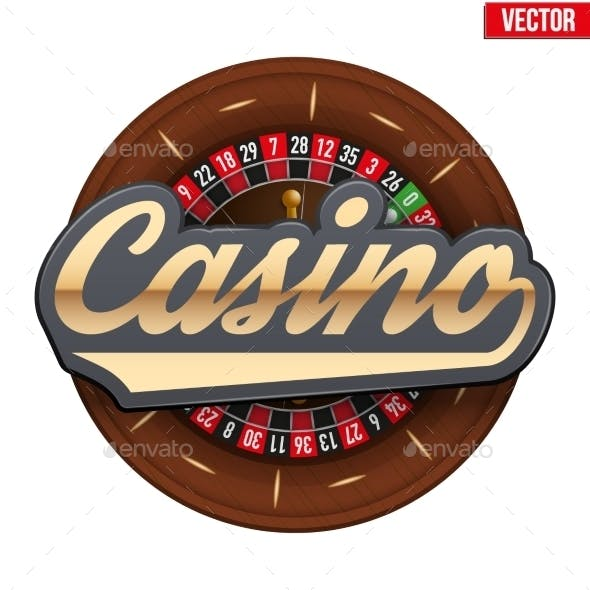 Gambling Roulette Wheel With Casino Tag.