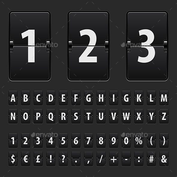 Flip Black Scoreboard Letters, Numbers and Symbols