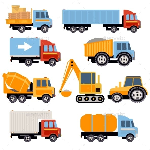 Trucks And Tractors Set Flat Style