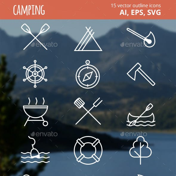 15 Camping Outline Icons