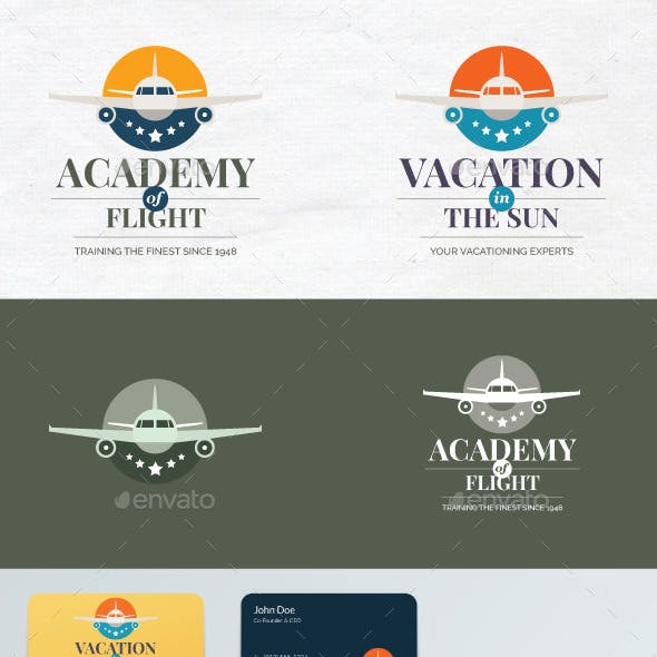Travel agency or flight school vector logo