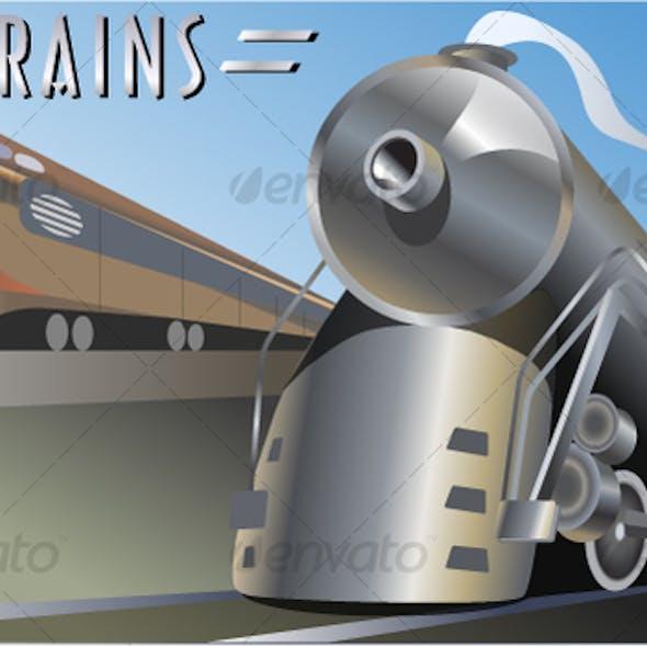 Trains Locomotives Vector Art