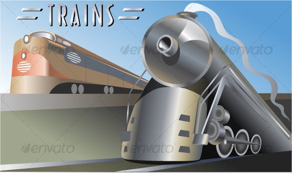 Trains Locomotives Vector Art - Man-made Objects Objects