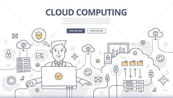 Cloud Computing Doodle Concept - Web Technology