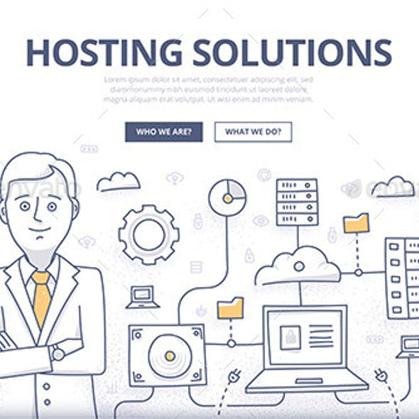 Hosting Solutions Doodle Concept