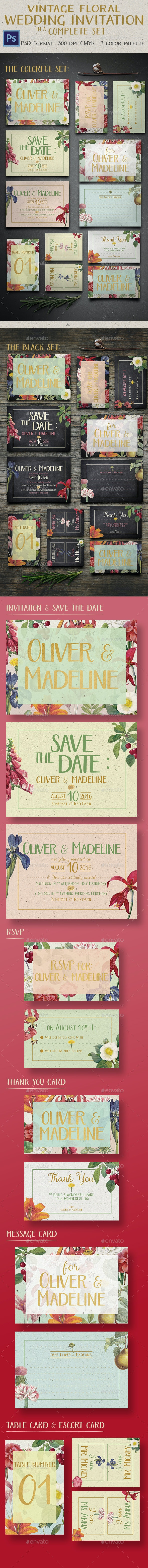 Vintage Floral Wedding Invitation - Invitations Cards & Invites