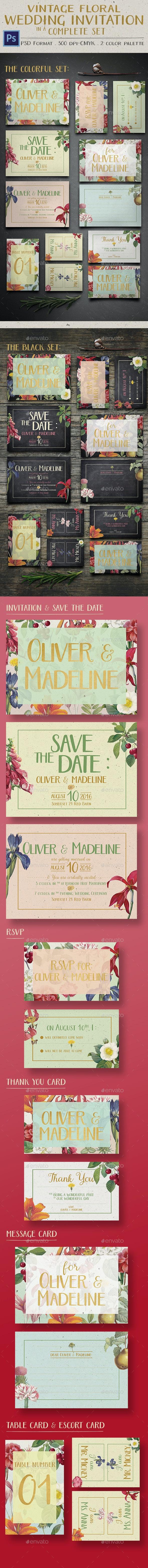 Vintage Floral Wedding Invitation - Invitations Cards & Invites