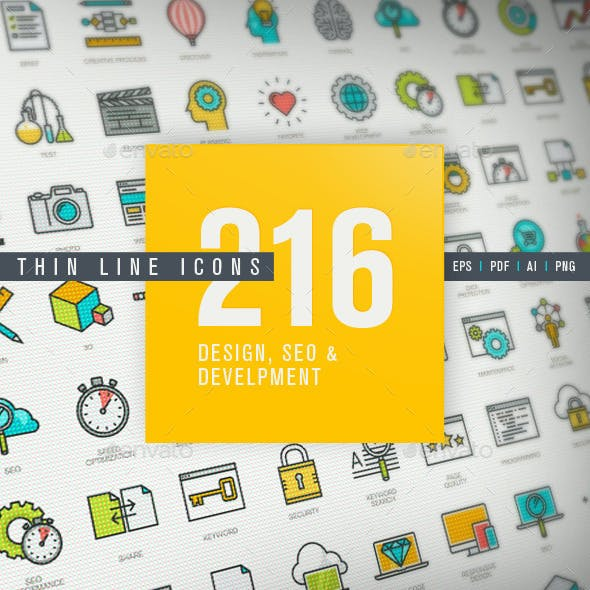 Thin Line Icons for Design, SEO and Development