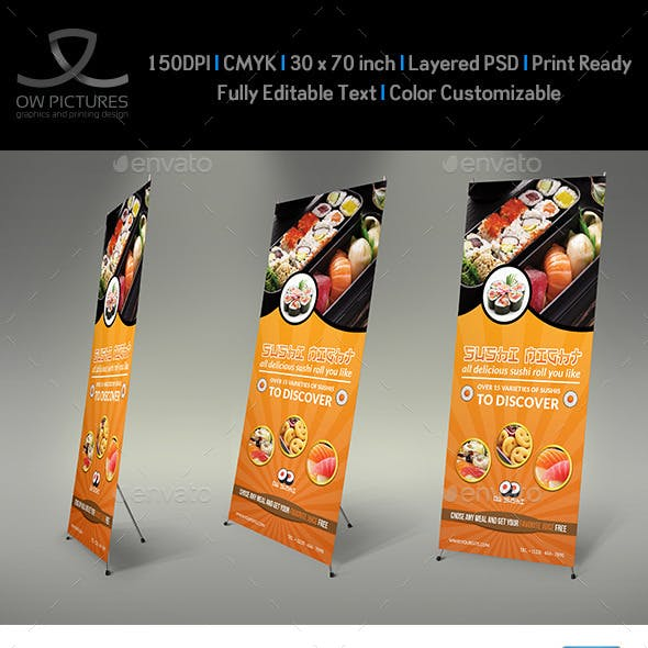Sushi Restaurant Rollup Signage Banner Template
