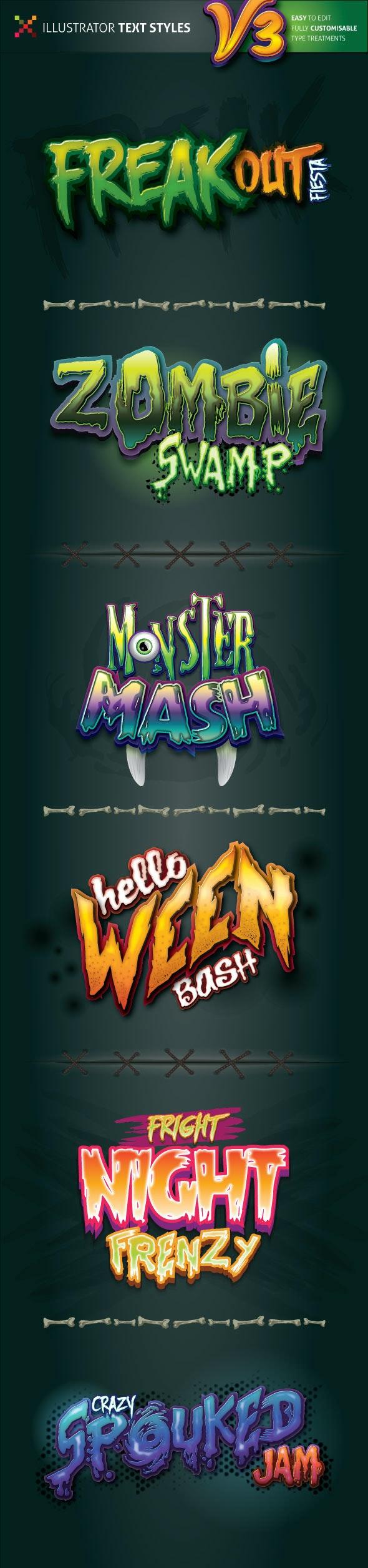 Spooky Illustrator Text Styles v3 - Styles Illustrator