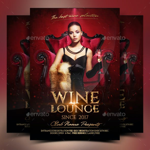 Wine lounge Party Flyer