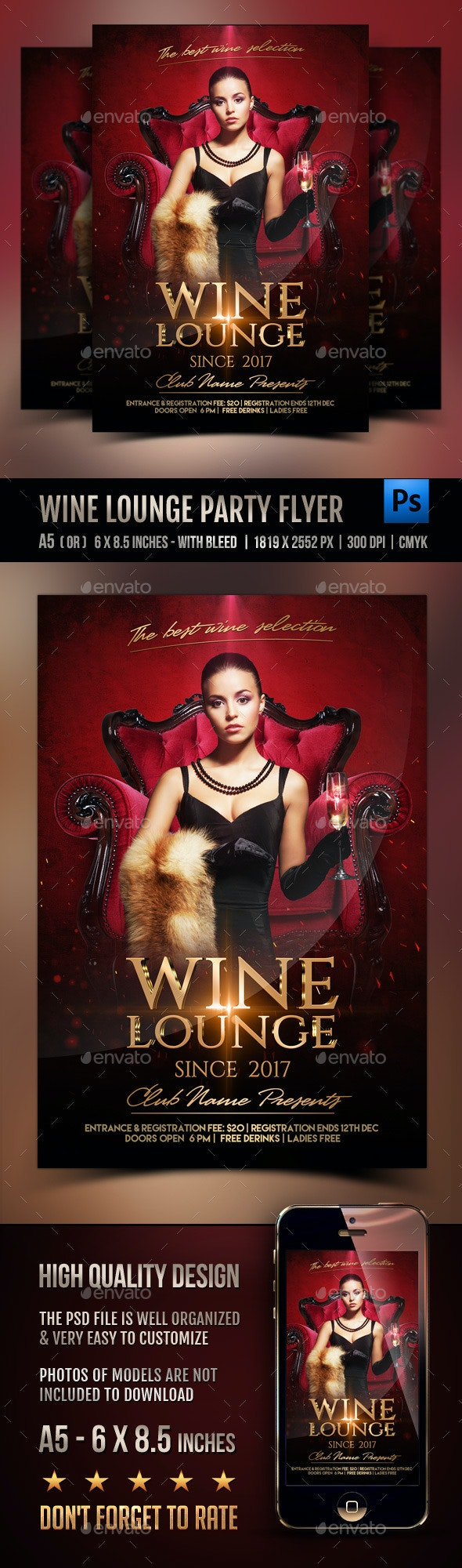 Wine lounge Party Flyer - Events Flyers