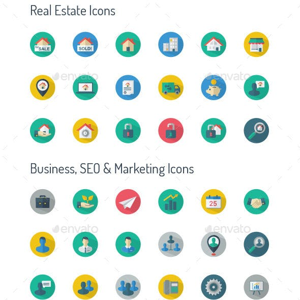 Long Shadow Icon set- Real Estate & Business, SEO,