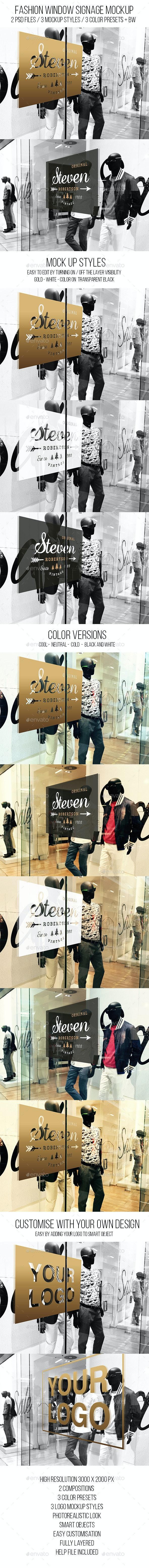 Fashion Window Signage Mockup - Logo Product Mock-Ups