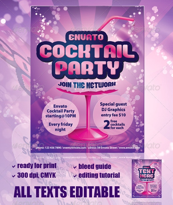 Cocktail Party - Ready for Print Flyer - Clubs & Parties Events