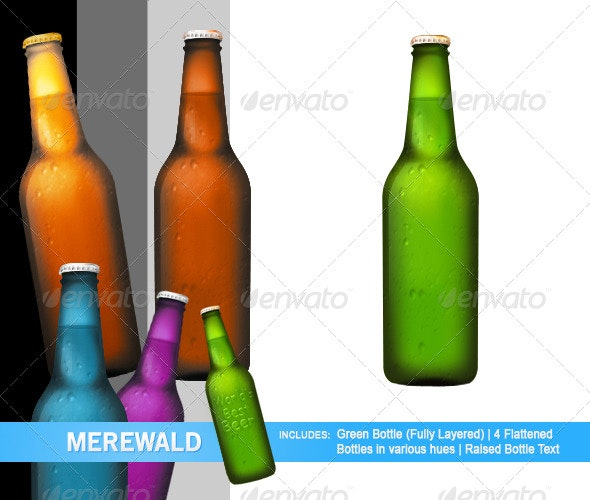Multi-Colored Beer Bottles - Objects 3D Renders