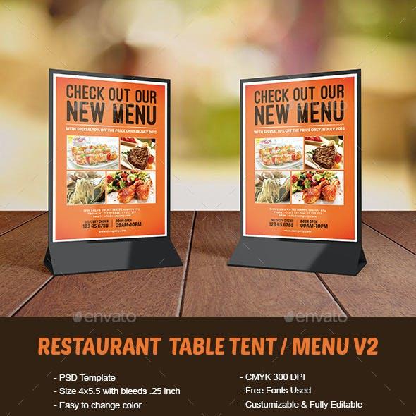 Restaurant Table Tent / Menu V2