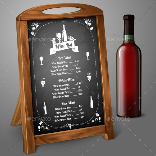Menu Template on Chalkboard for Alcohol - Man-made Objects Objects