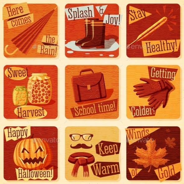 Collection of Retro Stylized Autumn Illustrations