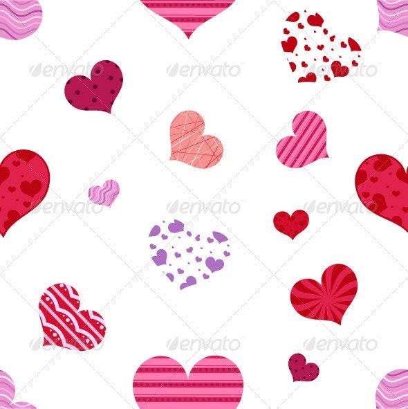 Seamless Hearts Pattern - Patterns Decorative