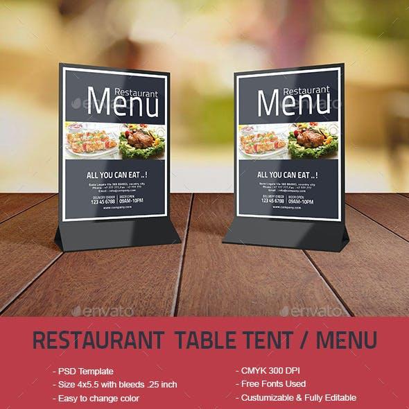 Restaurant Table Tent / Menu