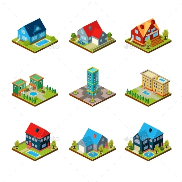 Private House 3d Isometric  - Buildings Objects