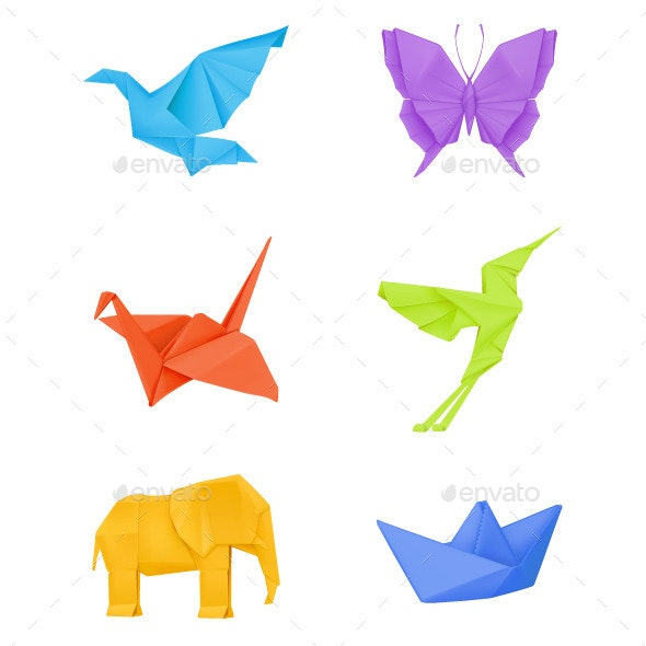 Multi Colored Origami Icons - Animals Characters