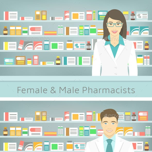 Flat Style Young Pharmacists at Pharmacy