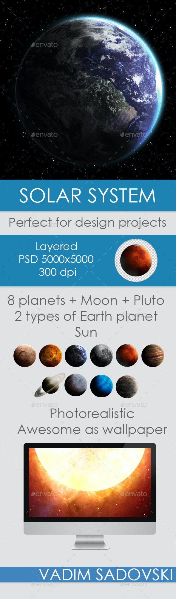 Hight Quality Solar System Planets and Sun - Miscellaneous Illustrations