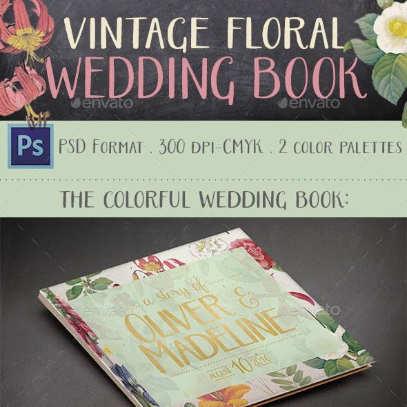 Vintage Floral Wedding Photo Book