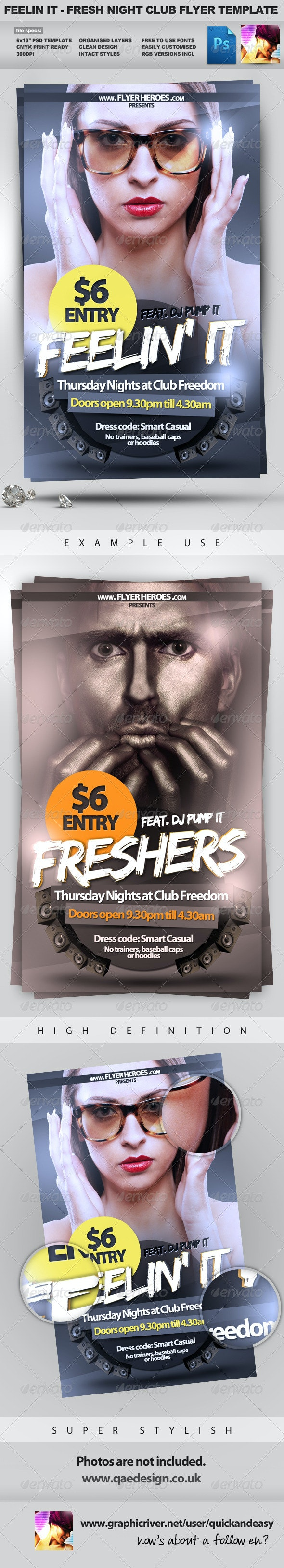 Feelin It - Nightclub Party Flyer Template - Clubs & Parties Events