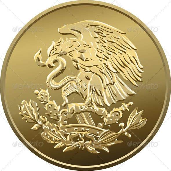 Vector Mexican Money Gold Coin with the Eagle