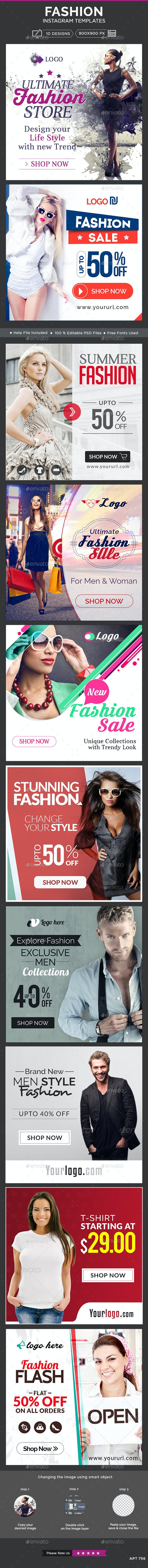 Fashion Instagram Templates - 10 Designs - Banners & Ads Web Elements