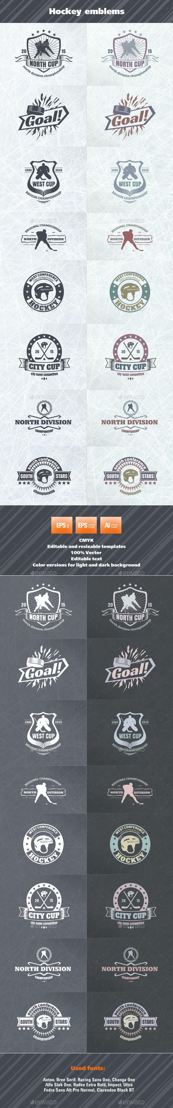 Hockey Emblems - Badges & Stickers Web Elements