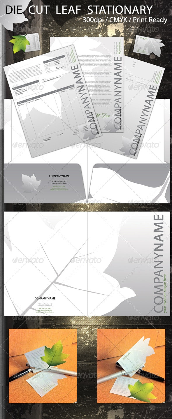 Die Cut Leaf Stationary - Stationery Print Templates