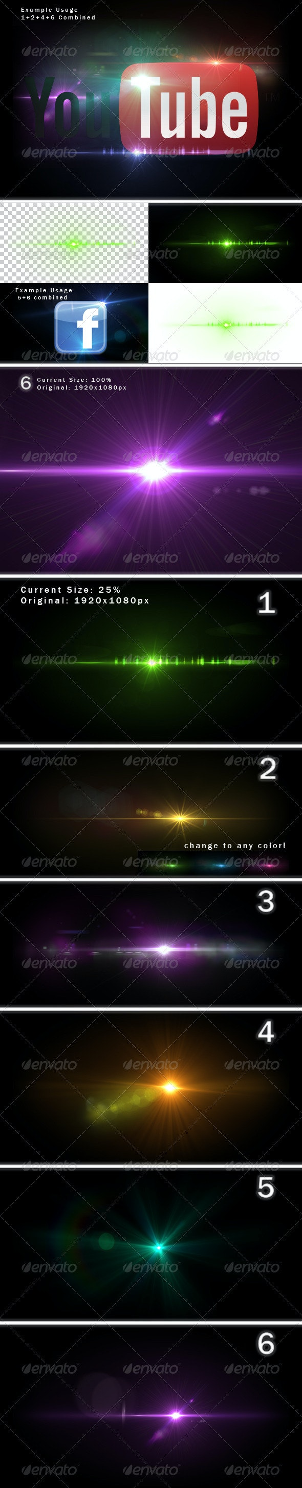 6 Unique Lens Flares - Light Effects -2- - Decorative Graphics