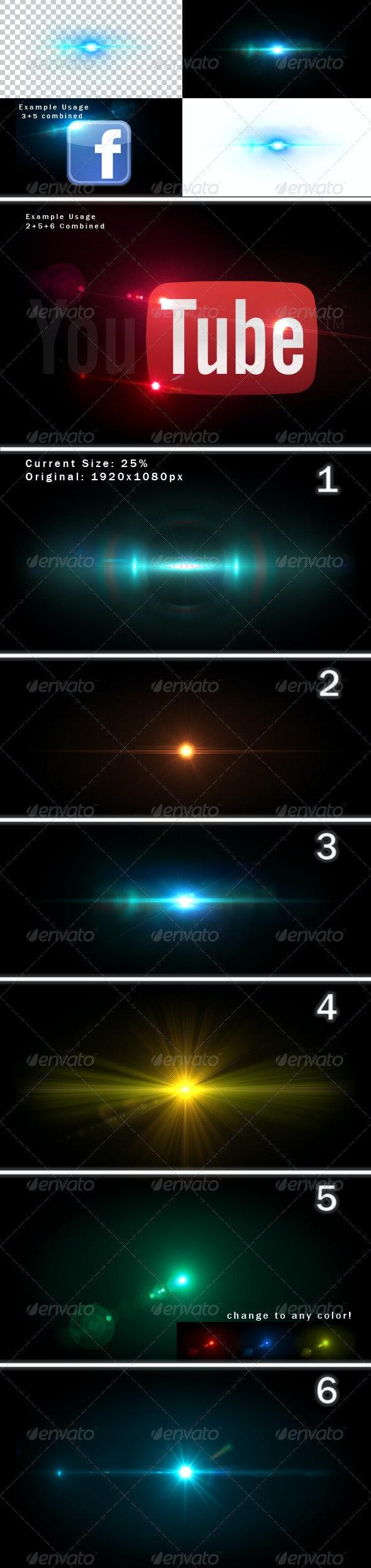 6 Unique Lens Flares - Light Effects -1- - Decorative Graphics