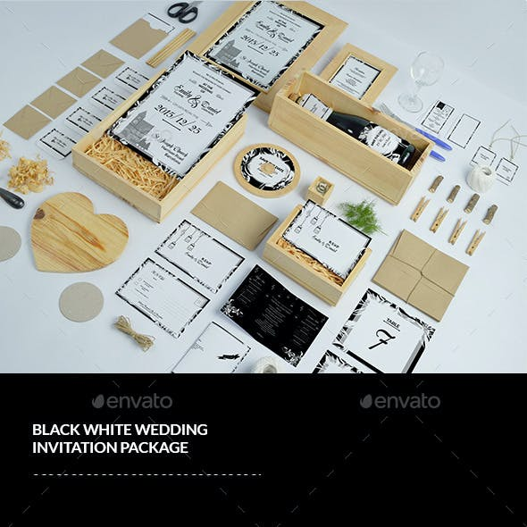 Black & White Wedding Invitation Pack