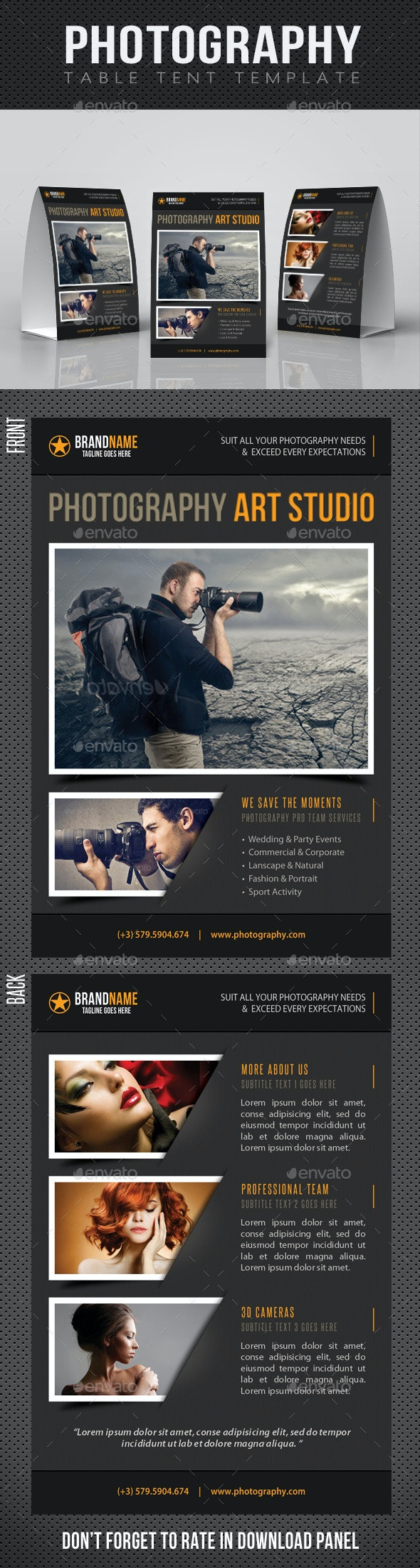 Photography Studio Table Tent Template 02