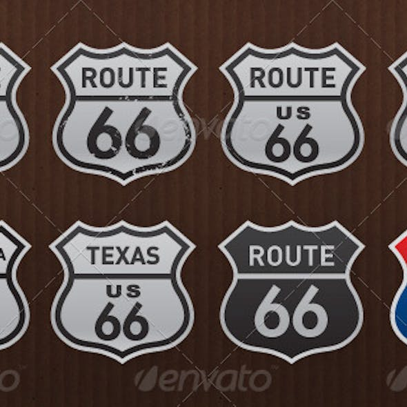 Route 66 Historic USA Road Signs Pack