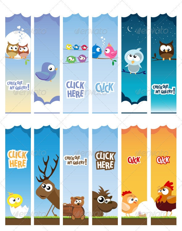 Animal web banners - Characters Vectors