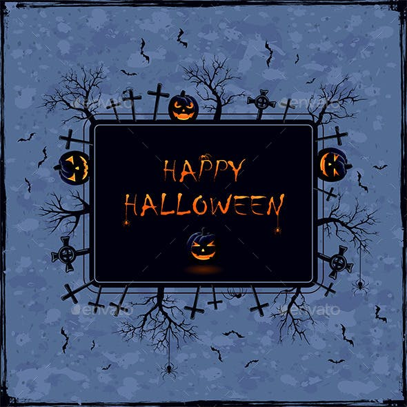 Halloween Banner on Grunge Background