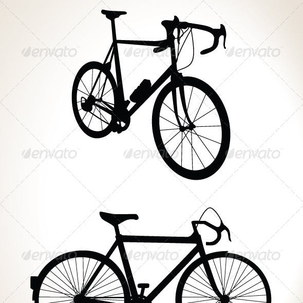 Bicycle Silhouette Double Pack - Vector