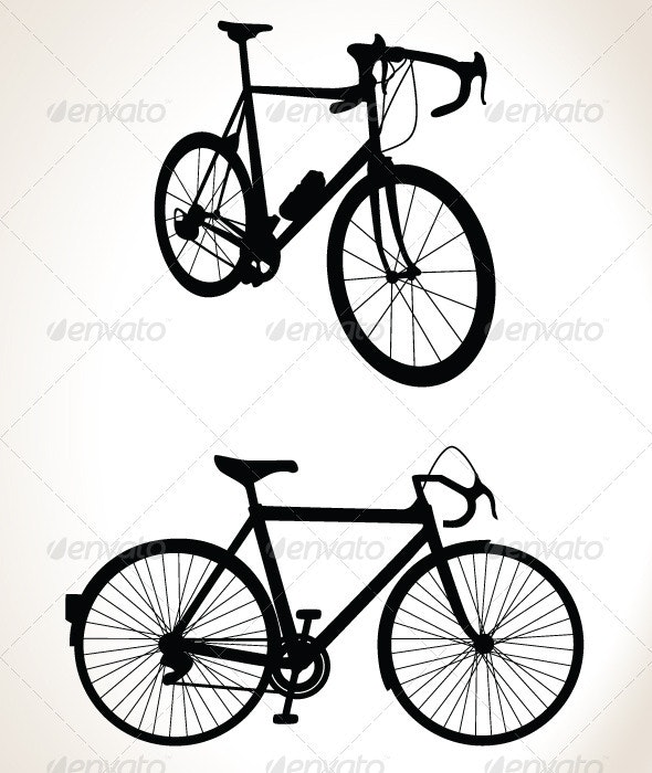 Bicycle Silhouette Double Pack - Vector - Characters Vectors