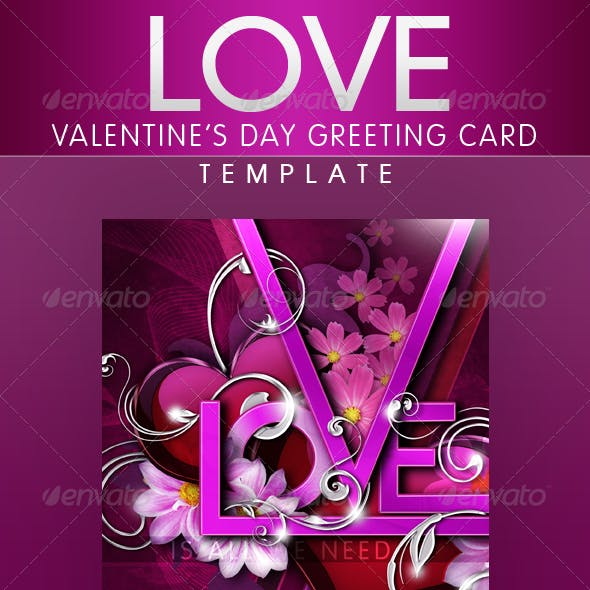 LOVE - Valentine's Day Greeting Card Template