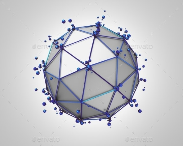 Abstract 3D Rendering Of Low Poly Metal Sphere - Tech / Futuristic Backgrounds